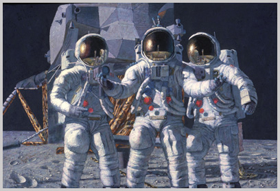 In the artist's imagination, Dick Gordon poses with Conrad and Bean on the Moon