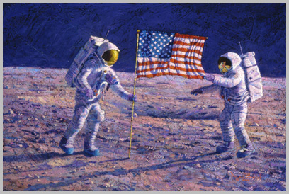 Armstrong and Aldrin deploy the U.S. flag