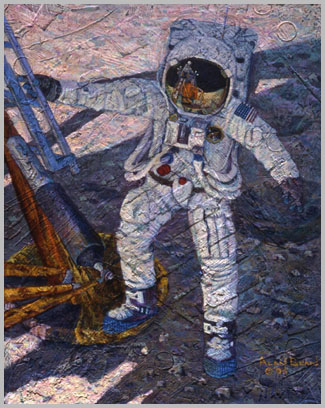 With his right hand gripping the ladder and his right foot on the footpad, Neil steps down onto the Moon with his left foot