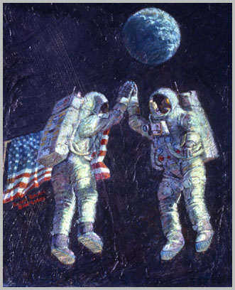 Imaginative painting of Pete and Al jumping clear of the surface to slap upraised hands