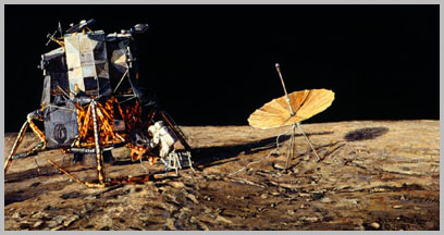 Lunar Module with large, umbrella-shaped antenna