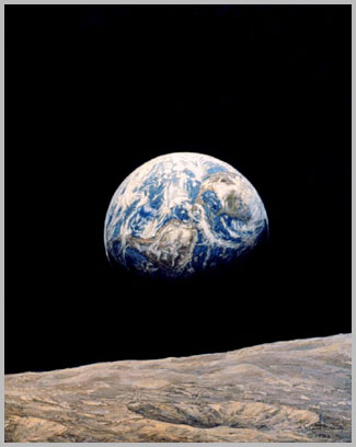 A half-earth from lunar orbit with the Americas visible