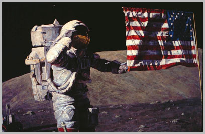 Gene Cernan with the South Massif in the background