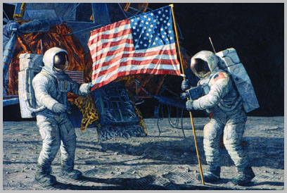 Apollo 11 crew deploys flag, second version