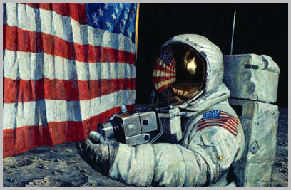 Neil Armstrong pulls on lower corner of the flag